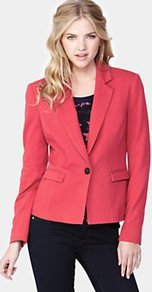 Pique Blazer, Coral - pattern: plain; style: single breasted blazer; hip detail: side pockets at hip, front pockets at hip; collar: standard lapel/rever collar; predominant colour: coral; occasions: casual, evening, work, occasion; length: standard; fit: tailored/fitted; fibres: cotton - 100%; waist detail: fitted waist; back detail: back vent/flap at back; sleeve length: long sleeve; sleeve style: standard; texture group: cotton feel fabrics; collar break: low/open; pattern type: fabric; pattern size: standard