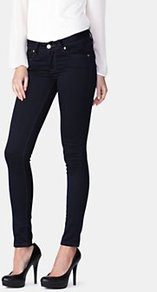 Cooper Skinny Jeans - style: skinny leg; length: standard; pattern: plain; pocket detail: traditional 5 pocket; waist: mid/regular rise; predominant colour: navy; occasions: casual; fibres: cotton - stretch; jeans detail: dark wash; texture group: denim; pattern type: fabric; pattern size: standard