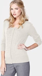 Pearl Front Cardigan, Cream - neckline: round neck; pattern: plain; predominant colour: ivory; occasions: casual, evening, work; length: standard; style: standard; fit: standard fit; sleeve length: long sleeve; sleeve style: standard; texture group: cotton feel fabrics; pattern type: knitted - fine stitch; embellishment: beading; fibres: viscose/rayon - mix