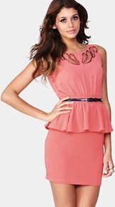 Embellished Peplum Dress, Purple - style: shift; length: mini; neckline: round neck; fit: tailored/fitted; sleeve style: sleeveless; bust detail: added detail/embellishment at bust, tiers/frills/bulky drapes/pleats; waist detail: fitted waist, twist front waist detail/nipped in at waist on one side/soft pleats/draping/ruching/gathering waist detail, peplum waist detail, belted waist/tie at waist/drawstring; back detail: low cut/open back; hip detail: fitted at hip, ruffles/tiers/tie detail at hip; predominant colour: coral; occasions: evening, occasion; fibres: polyester/polyamide - 100%; shoulder detail: added shoulder detail; sleeve length: sleeveless; texture group: crepes; trends: glamorous day shifts, sculptural frills; pattern type: fabric; pattern size: standard; embellishment: beading