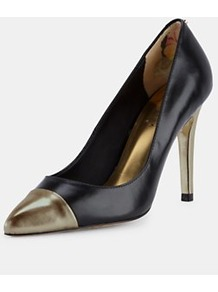 Saysa Pointed Court Shoes, Black - predominant colour: black; occasions: evening, work; material: leather; heel height: high; heel: stiletto; toe: pointed toe; style: courts; finish: plain; pattern: plain, colourblock; embellishment: toe cap