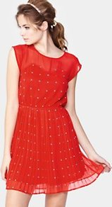 Tea Dress, Red - style: tea dress; length: mid thigh; neckline: round neck; sleeve style: capped; fit: fitted at waist; pattern: plain; waist detail: fitted waist; predominant colour: true red; occasions: casual, evening, occasion; fibres: polyester/polyamide - 100%; sleeve length: short sleeve; texture group: sheer fabrics/chiffon/organza etc.; pattern type: fabric; pattern size: small & light; embellishment: beading