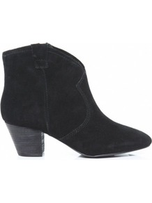 Black Spiral Cowboy Boots 8 Uk/41 Eu - predominant colour: black; occasions: casual; material: suede; heel height: mid; embellishment: zips; heel: block; toe: round toe; boot length: ankle boot; style: cowboy; finish: plain; pattern: plain