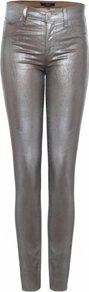 Silver Coated Jeans Uk - style: skinny leg; length: standard; pattern: plain; waist: high rise; pocket detail: traditional 5 pocket; predominant colour: silver; occasions: casual, evening, occasion; fibres: cotton - mix; texture group: waxed cotton; trends: metallics; pattern type: fabric