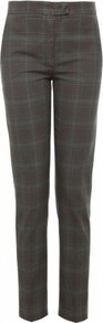 Khaki Queen Check Trousers Uk 12 Khaki - pattern: checked/gingham; pocket detail: small back pockets, pockets at the sides; waist: mid/regular rise; predominant colour: khaki; occasions: casual, work; length: ankle length; fibres: cotton - 100%; hip detail: fitted at hip (bottoms); texture group: cotton feel fabrics; fit: slim leg; pattern type: fabric; pattern size: standard; style: standard