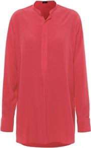 Coral Oversized Silk Shirt Uk - pattern: plain; neckline: high neck; length: below the bottom; style: shirt; predominant colour: coral; occasions: casual, evening, work; fibres: silk - 100%; fit: loose; sleeve length: long sleeve; sleeve style: standard; texture group: crepes; pattern type: fabric; pattern size: standard