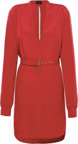 Red Angelina Dress Uk - style: shift; neckline: plunge; sleeve style: extended cuff; fit: fitted at waist; pattern: plain; waist detail: fitted waist, belted waist/tie at waist/drawstring; back detail: low cut/open back; predominant colour: true red; occasions: casual, evening, occasion; length: just above the knee; fibres: silk - 100%; sleeve length: long sleeve; texture group: silky - light; pattern type: fabric