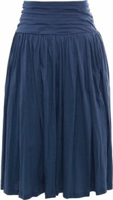 Denim Etrina Skirt Uk 12 Denim - pattern: plain; style: full/prom skirt; fit: loose/voluminous; waist detail: elasticated waist, wide waistband/cummerbund, twist front waist detail/nipped in at waist on one side/soft pleats/draping/ruching/gathering waist detail; waist: high rise; predominant colour: navy; occasions: casual, evening, work; length: on the knee; fibres: cotton - 100%; hip detail: soft pleats at hip/draping at hip/flared at hip; texture group: cotton feel fabrics; pattern type: fabric