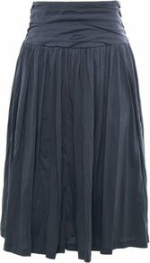Dark Grey Etrina Skirt Uk - pattern: plain; style: full/prom skirt; fit: loose/voluminous; waist detail: wide waistband/cummerbund, twist front waist detail/nipped in at waist on one side/soft pleats/draping/ruching/gathering waist detail; waist: high rise; predominant colour: charcoal; occasions: casual, evening, work; length: on the knee; fibres: cotton - 100%; hip detail: ruching/gathering at hip, soft pleats at hip/draping at hip/flared at hip; texture group: cotton feel fabrics; pattern type: fabric