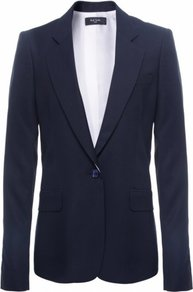 Navy Button Jacket Uk - pattern: plain; style: single breasted blazer; length: below the bottom; hip detail: front pockets at hip; collar: standard lapel/rever collar; predominant colour: navy; occasions: evening, work; fit: tailored/fitted; fibres: cotton - mix; back detail: back vent/flap at back; sleeve length: long sleeve; sleeve style: standard; collar break: low/open; pattern type: fabric; pattern size: standard; texture group: other - light to midweight