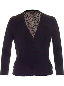 Isabel De Pedro Black Lace And Mesh Jersey Cardigan - neckline: low v-neck; pattern: plain; back detail: contrast pattern/fabric at back; predominant colour: black; occasions: casual, evening, occasion; length: standard; style: standard; fibres: viscose/rayon - stretch; fit: slim fit; sleeve length: long sleeve; sleeve style: standard; pattern type: fabric; texture group: jersey - stretchy/drapey; embellishment: lace