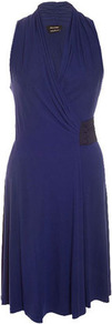 Isabel De Pedro Sapphire Wrap Dress - style: faux wrap/wrap; neckline: low v-neck; pattern: plain; sleeve style: sleeveless; bust detail: ruching/gathering/draping/layers/pintuck pleats at bust; predominant colour: navy; occasions: evening, occasion; length: just above the knee; fit: body skimming; fibres: viscose/rayon - stretch; sleeve length: sleeveless; pattern type: fabric; texture group: jersey - stretchy/drapey