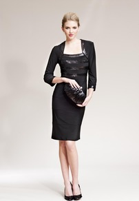 Black Dress With Sequin Insert - style: shift; neckline: round neck; fit: tailored/fitted; pattern: plain; sleeve style: sleeveless; bust detail: added detail/embellishment at bust; predominant colour: black; occasions: evening, occasion; length: just above the knee; fibres: polyester/polyamide - mix; sleeve length: sleeveless; texture group: silky - light; pattern type: fabric; embellishment: sequins