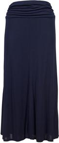 Navy Jersey Maxi Skirt - pattern: plain; fit: body skimming; waist: high rise; waist detail: twist front waist detail/nipped in at waist on one side/soft pleats/draping/ruching/gathering waist detail; predominant colour: navy; occasions: casual; length: floor length; style: maxi skirt; fibres: viscose/rayon - 100%; pattern type: fabric; texture group: jersey - stretchy/drapey