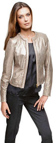 Leather Jacket - pattern: plain; collar: round collar/collarless; style: boxy; predominant colour: champagne; occasions: casual, evening, work, occasion; length: standard; fit: tailored/fitted; fibres: leather - 100%; sleeve length: long sleeve; sleeve style: standard; texture group: leather; trends: metallics; collar break: low/open; pattern type: fabric