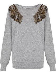 Angel Wings Jumper - neckline: round neck; pattern: plain; bust detail: added detail/embellishment at bust; style: standard; secondary colour: mid grey; predominant colour: light grey; occasions: casual; length: standard; fibres: cotton - 100%; fit: standard fit; shoulder detail: added shoulder detail; sleeve length: long sleeve; sleeve style: standard; texture group: cotton feel fabrics; pattern type: fabric; embellishment: beading