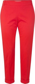 Sundry Cotton Trousers - pattern: plain; style: capri; waist detail: fitted waist; pocket detail: pockets at the sides; waist: mid/regular rise; predominant colour: true red; occasions: casual, work, holiday; length: ankle length; fibres: cotton - stretch; hip detail: fitted at hip (bottoms); jeans & bottoms detail: turn ups; texture group: cotton feel fabrics; fit: slim leg; pattern type: fabric