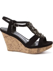 Black Bead Embellished T Bar Cork Wedges - predominant colour: black; occasions: casual, evening, holiday; material: fabric; heel height: mid; embellishment: beading; ankle detail: ankle strap; heel: wedge; toe: open toe/peeptoe; style: strappy; trends: metallics; finish: plain; pattern: plain; secondary colour: clear