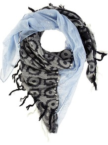 Blue Tile And Foil Scarf - predominant colour: pale blue; occasions: casual, work, holiday; type of pattern: standard; style: square; size: standard; material: fabric; embellishment: fringing, tassels, jewels, studs; trends: statement prints, metallics; pattern: patterned/print