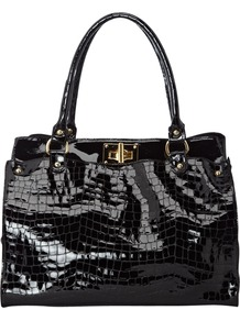 Cleo Croc Bag - predominant colour: black; occasions: casual, work; type of pattern: light; style: tote; length: hand carry; size: standard; material: leather; pattern: animal print; finish: patent