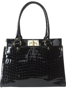 Polly Croc Bag - predominant colour: black; occasions: casual, work; type of pattern: light; style: tote; length: handle; size: standard; material: leather; pattern: animal print; finish: patent