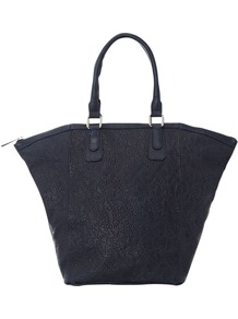 Edie Tote Bag - predominant colour: navy; occasions: casual, work; type of pattern: light; style: tote; length: handle; size: oversized; material: leather; pattern: plain, patterned/print; finish: plain