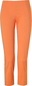 Orange Cropped Cotton Blend Capri Pants - pattern: plain; style: capri; waist: mid/regular rise; predominant colour: bright orange; occasions: casual; length: calf length; fibres: cotton - mix; texture group: cotton feel fabrics; fit: slim leg; pattern type: fabric