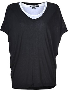 Black/White Double Layer Jersey Top - neckline: round neck; sleeve style: dolman/batwing; pattern: plain, colourblock; style: t-shirt; predominant colour: black; occasions: casual; length: standard; fibres: polyester/polyamide - 100%; fit: loose; bust detail: contrast pattern/fabric/detail at bust; sleeve length: short sleeve; pattern type: fabric; pattern size: small & light; texture group: jersey - stretchy/drapey