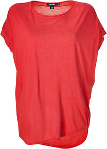 Bright Red Cozy Jersey Top - neckline: round neck; sleeve style: dolman/batwing; pattern: plain; length: below the bottom; predominant colour: true red; occasions: casual; style: top; fibres: polyester/polyamide - 100%; fit: loose; back detail: longer hem at back than at front; sleeve length: short sleeve; pattern type: fabric; texture group: jersey - stretchy/drapey