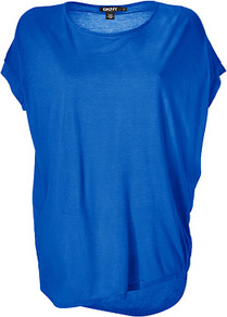 Electric Blue Cozy Jersey Top - neckline: round neck; sleeve style: dolman/batwing; pattern: plain; length: below the bottom; predominant colour: royal blue; occasions: casual; style: top; fibres: polyester/polyamide - 100%; fit: loose; back detail: longer hem at back than at front; sleeve length: short sleeve; pattern type: fabric; texture group: jersey - stretchy/drapey