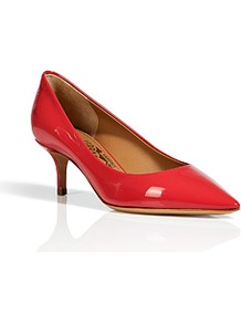 Lava Patent Leather Pointed Toe Susi Pumps - predominant colour: true red; occasions: evening, work, occasion; material: leather; heel height: mid; heel: stiletto; toe: pointed toe; style: courts; finish: patent; pattern: plain