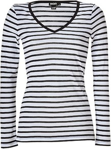 White/Black Striped V Neck T Shirt - neckline: v-neck; pattern: horizontal stripes; style: t-shirt; predominant colour: ivory; occasions: casual; length: standard; fibres: cotton - 100%; fit: body skimming; sleeve length: long sleeve; sleeve style: standard; pattern type: fabric; pattern size: standard; texture group: jersey - stretchy/drapey