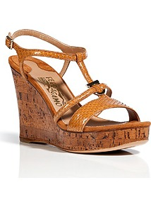Cognac Python Savita Wedges - predominant colour: tan; occasions: casual, evening, holiday; material: leather; heel height: high; ankle detail: ankle strap; heel: wedge; toe: open toe/peeptoe; style: strappy; finish: plain; pattern: animal print