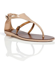 Nude/Beige Pvc/Leather Thong Sandals - secondary colour: tan; predominant colour: stone; occasions: casual, holiday; material: leather; heel height: mid; ankle detail: ankle strap; heel: wedge; toe: toe thongs; style: flip flops / toe post; finish: patent; pattern: plain
