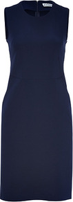 Ink Cotton Blend Stretch Dress - style: shift; fit: tailored/fitted; pattern: plain; sleeve style: sleeveless; predominant colour: navy; occasions: casual, evening, work; length: just above the knee; fibres: cotton - mix; neckline: crew; sleeve length: sleeveless; pattern type: fabric; texture group: other - light to midweight