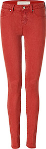 Antique Red Skinny Jeans - style: skinny leg; length: standard; pattern: plain; pocket detail: traditional 5 pocket; waist: mid/regular rise; predominant colour: true red; occasions: casual, evening, holiday; fibres: viscose/rayon - stretch; texture group: denim; pattern type: fabric
