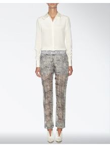 Lace Print Mara Trouser - style: tracksuit pants; waist detail: elasticated waist, narrow waistband; waist: mid/regular rise; predominant colour: mid grey; occasions: casual, evening, work, occasion; length: ankle length; fibres: polyester/polyamide - 100%; hip detail: fitted at hip (bottoms); texture group: sheer fabrics/chiffon/organza etc.; trends: statement prints; fit: straight leg; pattern type: fabric; pattern size: standard; pattern: patterned/print