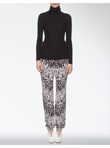 Silk Knitted Leopard Mara Trouser - length: standard; style: tracksuit pants; waist detail: elasticated waist, fitted waist; pocket detail: pockets at the sides; waist: mid/regular rise; predominant colour: charcoal; occasions: casual, evening; fibres: silk - 100%; hip detail: front pleats at hip level; texture group: crepes; trends: statement prints; fit: baggy; pattern type: fabric; pattern size: small & busy; pattern: animal print, patterned/print