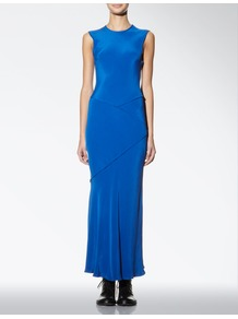 Silk Maite Dress - pattern: plain; sleeve style: sleeveless; style: maxi dress; length: ankle length; waist detail: fitted waist; hip detail: fitted at hip, structured pleats at hip; predominant colour: royal blue; occasions: casual, evening, occasion, holiday; fit: body skimming; fibres: silk - 100%; neckline: crew; sleeve length: sleeveless; texture group: crepes; pattern type: fabric