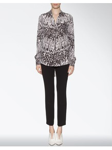 Silk Knitted Leopard Garcon Blouse - neckline: shirt collar/peter pan/zip with opening; style: blouse; predominant colour: mid grey; secondary colour: black; occasions: casual, evening, work; length: standard; fibres: silk - 100%; fit: loose; back detail: longer hem at back than at front; sleeve length: long sleeve; sleeve style: standard; texture group: silky - light; pattern type: fabric; pattern size: small & busy; pattern: animal print