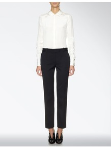 Romantic Frill Bill Trouser - pattern: plain; waist detail: belted waist/tie at waist/drawstring; waist: mid/regular rise; predominant colour: black; occasions: evening, work; length: ankle length; fibres: wool - stretch; hip detail: added detail/embellishment at hip; fit: straight leg; pattern type: fabric; texture group: woven light midweight; style: standard