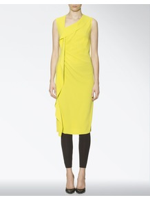 Crepe Stretch Anya Dress - style: shift; length: below the knee; fit: tailored/fitted; pattern: plain; sleeve style: sleeveless; neckline: asymmetric; waist detail: twist front waist detail/nipped in at waist on one side/soft pleats/draping/ruching/gathering waist detail; predominant colour: lime; occasions: evening, occasion; sleeve length: sleeveless; texture group: crepes; pattern type: fabric; fibres: viscose/rayon - mix