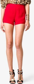 High Waisted Shorts - pattern: plain; waist: high rise; length: short shorts; style: hot pants; predominant colour: true red; occasions: casual, evening; fibres: polyester/polyamide - 100%; hip detail: fitted at hip (bottoms); fit: slim leg; pattern type: fabric; pattern size: standard; texture group: other - light to midweight