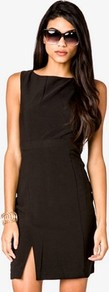 Sleeveless Shift Dress - style: shift; length: mid thigh; neckline: slash/boat neckline; fit: tailored/fitted; pattern: plain; sleeve style: sleeveless; waist detail: fitted waist; hip detail: fitted at hip, slits at hip; predominant colour: black; occasions: casual, evening, occasion; fibres: polyester/polyamide - mix; sleeve length: sleeveless; pattern type: fabric; texture group: jersey - stretchy/drapey