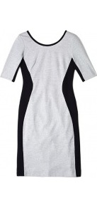 Jersey Dress With Side Panels - length: mid thigh; neckline: round neck; fit: tight; pattern: plain, colourblock; style: bodycon; waist detail: fitted waist; hip detail: fitted at hip; predominant colour: light grey; occasions: evening, work; fibres: cotton - 100%; sleeve length: short sleeve; sleeve style: standard; texture group: jersey - clingy; trends: modern geometrics; pattern type: fabric; pattern size: small & light