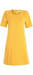 Jersey Dress With Pleated Skirt - style: shift; length: mini; pattern: plain; waist detail: drop waist; predominant colour: yellow; occasions: casual, evening; fit: soft a-line; fibres: cotton - mix; neckline: crew; hip detail: structured pleats at hip; sleeve length: short sleeve; sleeve style: standard; texture group: crepes; trends: glamorous day shifts; pattern type: fabric