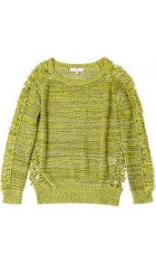 Kara Neon Shredded Jumper - neckline: round neck; style: standard; hip detail: fitted at hip; predominant colour: lime; occasions: casual, work; length: standard; fibres: cotton - 100%; fit: standard fit; sleeve length: long sleeve; sleeve style: standard; texture group: knits/crochet; trends: fluorescent; pattern type: knitted - big stitch; pattern size: small &amp; light