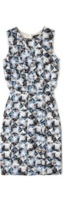 Folded Floral Print Sleeveless Silk Dress Paul Smith Blac - style: shift; fit: tight; sleeve style: sleeveless; waist detail: fitted waist; bust detail: ruching/gathering/draping/layers/pintuck pleats at bust; predominant colour: pale blue; occasions: casual, evening, work, occasion; length: just above the knee; fibres: silk - 100%; neckline: crew; sleeve length: sleeveless; texture group: silky - light; trends: statement prints, modern geometrics; pattern type: fabric; pattern size: small &amp; busy; pattern: patterned/print
