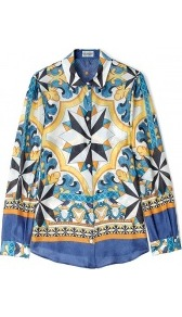 Tile Print Silk Chiffon Blouse Philosophy Di Alberta Ferr - neckline: shirt collar/peter pan/zip with opening; length: below the bottom; style: shirt; occasions: casual, evening, holiday; fibres: silk - 100%; fit: body skimming; predominant colour: multicoloured; sleeve length: long sleeve; sleeve style: standard; texture group: silky - light; pattern type: fabric; pattern size: big & busy; pattern: patterned/print