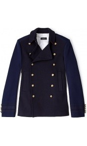 Ford Naval Pea Coat - pattern: plain, colourblock; length: standard; shoulder detail: shoulder pads; hip detail: side pockets at hip; style: pea coat; predominant colour: black; occasions: casual, work; fit: straight cut (boxy); fibres: cotton - mix; collar: shirt collar/peter pan/zip with opening; waist detail: fitted waist; back detail: embellishment at back, back vent/flap at back; sleeve length: long sleeve; sleeve style: standard; collar break: high/illusion of break when open; pattern type: fabric; texture group: other - light to midweight
